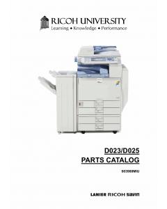 RICOH Aficio MP-C2800 C3300 D023 D025 Parts Catalog