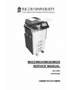 RICOH Aficio MP-C300 C300SR C400 C400SR M022 M024 M025 M026 Service Manual