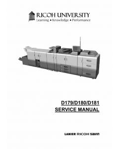 RICOH Aficio Pro-8100EX 8110S 8120S D179 D180 D181 Service Manual