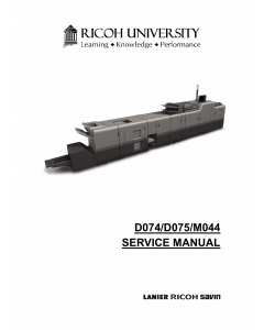 RICOH Aficio Pro-C651EX C751 C751EX D074 D075 M044 Service Manual
