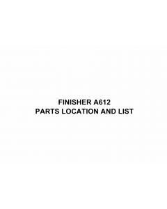 RICOH Options A612 FINISHER Parts Catalog PDF download