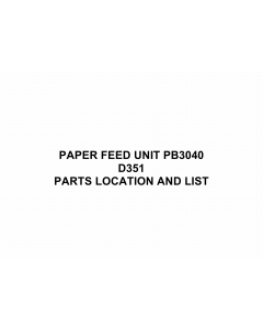 RICOH Options D351 PAPER-FEED-UNIT-PB3040 Parts Catalog PDF download