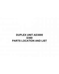 RICOH Options D369 DUPLEX-UNIT-AD3000 Parts Catalog PDF download