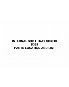 RICOH Options D385 INTERNAL-SHIFT-TRAY-SH3010 Parts Catalog PDF download