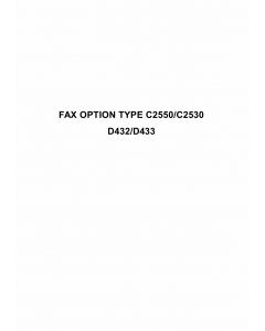 RICOH Options D432 D433 FAX-OPTION-TYPE-C2550-C2530 Service Manual PDF download