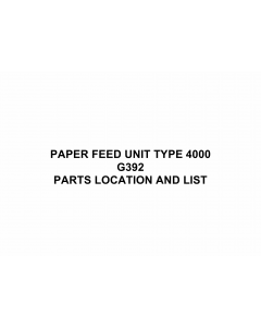 RICOH Options G392 PAPER-FEED-UNIT-TYPE-4000 Parts Catalog PDF download