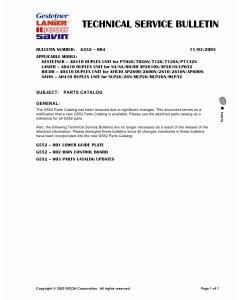 RICOH Options G552 DUPLEX-UNIT Parts Catalog PDF download