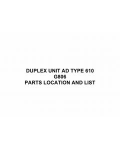 RICOH Options G806 DUPLEX-UNIT-AD-TYPE-610 Parts Catalog PDF download