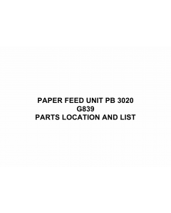 RICOH Options G839 PAPER-FEED-UNIT-PB-3020 Parts Catalog PDF download