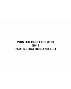 RICOH Options G841 PRINTER-HDD-TYPE-8100 Parts Catalog PDF download