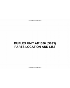 RICOH Options G893 DUPLEX-UNIT-AD1000 Parts Catalog PDF download