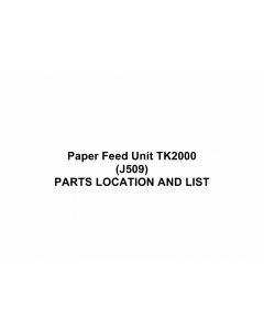 RICOH Options J509 Paper-Feed-Unit-TK2000 Parts Catalog PDF download