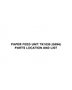 RICOH Options SR90a G894 PAPER-FEED-UNIT-TK1030 Parts Catalog PDF download
