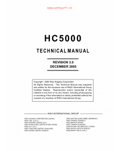 RISO HC 5000 TECHNICAL Service Manual