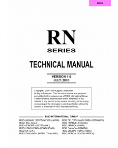 RISO RN 2000 2030 2050 2080 2100 2130 2150 2180 TECHNICAL Service Manual