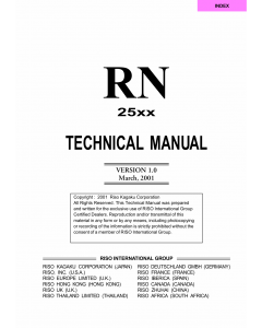 RISO RN 2500 TECHNICAL Service Manual