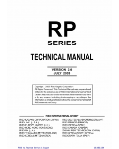 RISO RP 3100 3500 3590 3700 3790 TECHNICAL Service Manual
