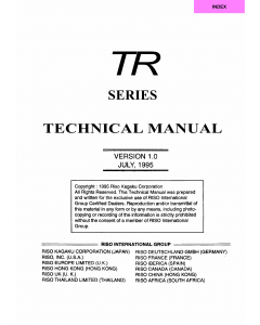 RISO TR 1510 1530 TECHNICAL Service Manual