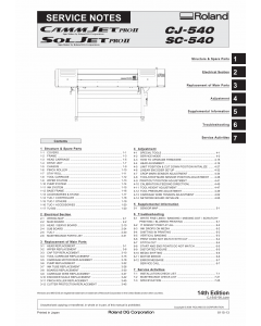 Roland CAMMJET CJ 540 Service Notes Manual