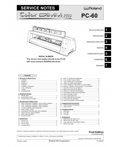 Roland ColorCAMM-Pro PC 60 Service Notes Manual