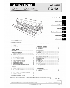 Roland ColorCAMM PC 12 Service Notes Manual