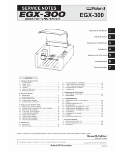 Roland EGX 300 Service Notes Manual