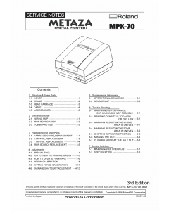 Roland METAZA MPX 70 Service Notes Manual