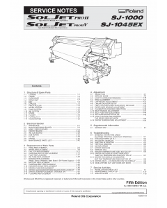Roland SOLJET-Pro2V SJ 1045 1000 Service Notes Manual