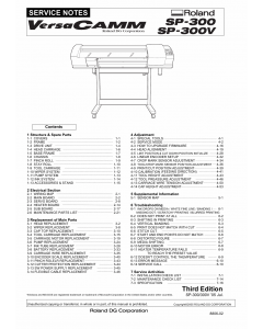 Roland VersaCAMM SP 300 300V Service Notes Manual