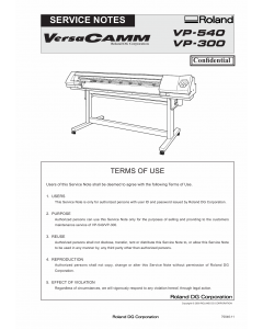 Roland VersaCAMM VP 540 300 Service Notes Manual