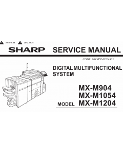 SHARP MX M904 M1054 M1204 Service Manual
