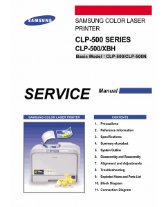 Samsung Color-Laser-Printer CLP-500 Series Parts and Service Manual