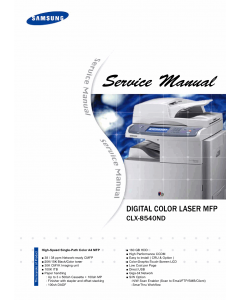 Samsung Digital-Color-Laser-MFP CLX-8540ND Parts and Service Manual
