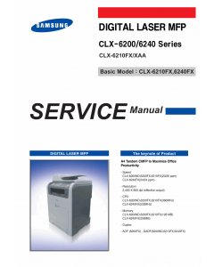 Samsung Digital-Laser-MFP CLX-6210FX 6200 6240 Parts and Service Manual