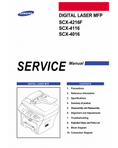 Samsung Digital-Laser-MFP SCX-4216F 4116 4016 Parts and Service Manual