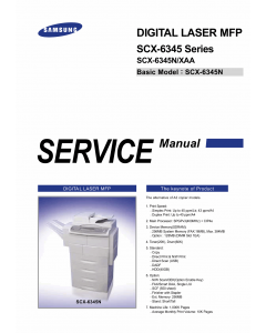 Samsung Digital-Laser-MFP SCX-6345N XAA Parts and Service Manual