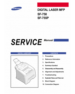 Samsung Digital-Laser-MFP SF-750 755P Parts and Service Manual