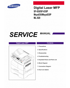 Samsung Digital-Laser-MFP SF-830 835P Msys-830 835P ML-920 Parts and Service Manual