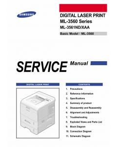 Samsung Digital-Laser-Printer ML-3561ND Parts and Service Manual