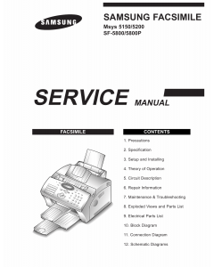 Samsung FACXIMILE SF-5800 5800P Msys-5150 5200 Parts and Service Manual