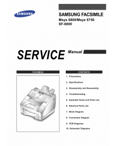 Samsung FACXIMILE SF-6800 Msys-6800 6750 Parts and Service Manual
