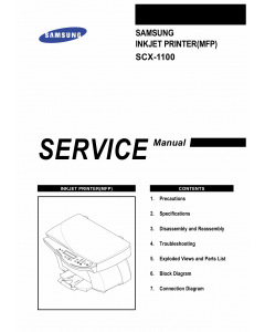 Samsung InkJet-MFP SCX-1100 Parts and Service Manual
