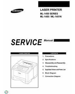 Samsung Laser-Printer ML-1450 1451N Parts and Service Manual