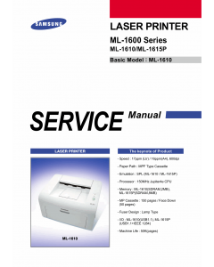 Samsung Laser-Printer ML-1600 1610 1615P Parts Manual