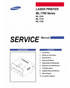 Samsung Laser-Printer ML-1750 1710 1700 1510 Parts and Service Manual