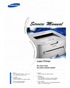 Samsung Laser-Printer ML-1910 1915 2525 2525W 2580N Parts and Service Manual