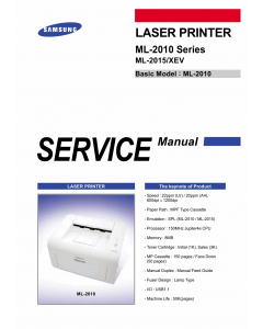 Samsung Laser-Printer ML-2010 2015 Parts and Service Manual
