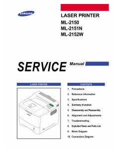 Samsung Laser-Printer ML-2150 2151N 2152W Parts and Service Manual