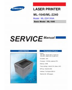 Samsung Laser-Printer ML-2241 Parts and Service Manual