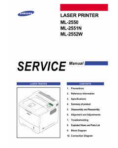 Samsung Laser-Printer ML-2550 2551N 2552W Parts and Service Manual